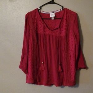 Ladies Knox Rose 3/4 length sleeve top